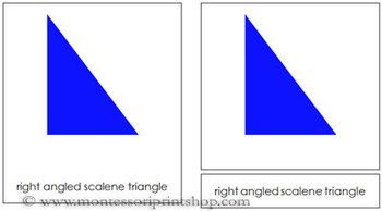 Triangles: 3-Part Cards (Simple Concepts) This work includes 7 triangles: equilateral triangle, right angled scalene triangle, acute angled scalene triangle, obtuse angled scalene triangle, obtuse angled isosceles triangle, right angled isosceles triangle, acute angled isosceles triangle.  - links to instructions, preparation, storage - 7 pictures with labels - 7 pictures without labels - 7 labels