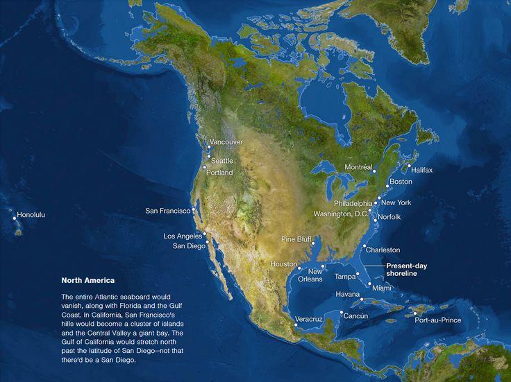 Map of sea level rise: North America (USA and Canada)
