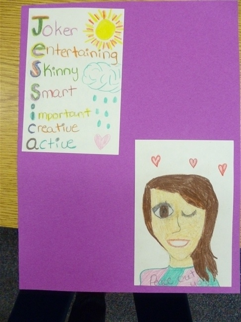 4th Grade Frolics: Awesome Acrostics- begining of the year art/writing project