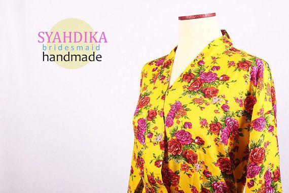 Wholesale kimono Dress Yellow Floral Pattern For by syahdika