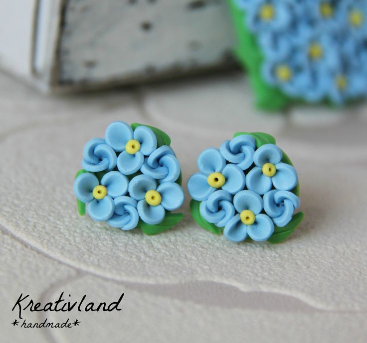 Forget me nots - handcrafted from polymer clay (own design)