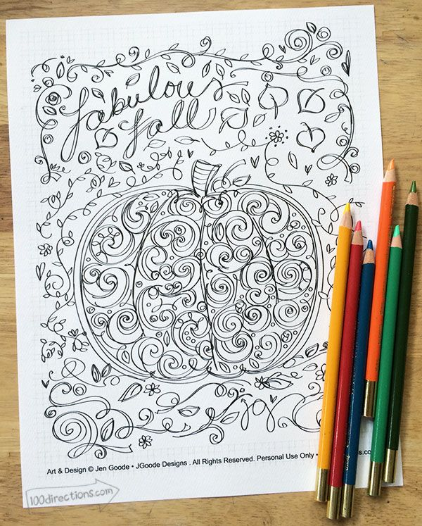 Free pumpkin coloring page for fall