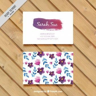 Flores da aguarela e folhas cartão de visita