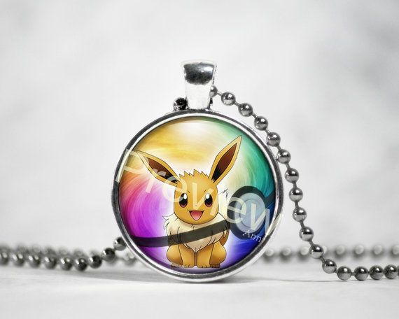 Pokemon Eevee Pendant Pokemon Necklace with ball by PokemonyByAnn