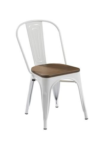 White Replica Tolix Chair with Bamboo Timber Seat (PERTH ONLY)