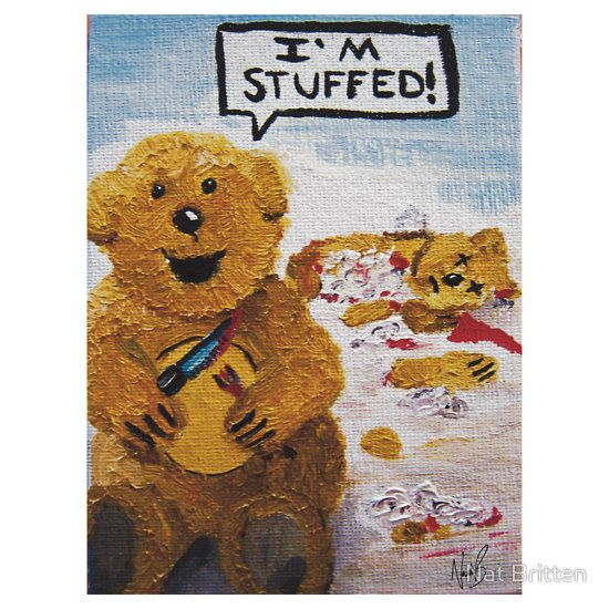Bad Teddy by Natalie Britten Available as Cards and Prints http://www.redbubble.com/people/natbritten/shop