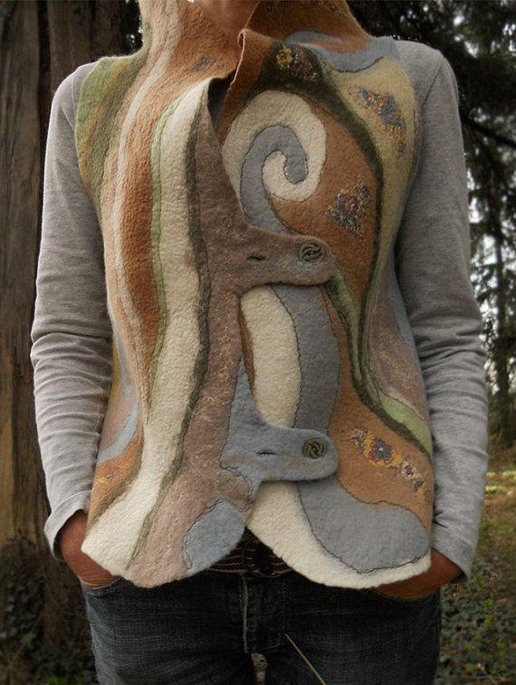 Felt vest Nuno felt vest Merino vest Wearable art OOAK by BuriFelt