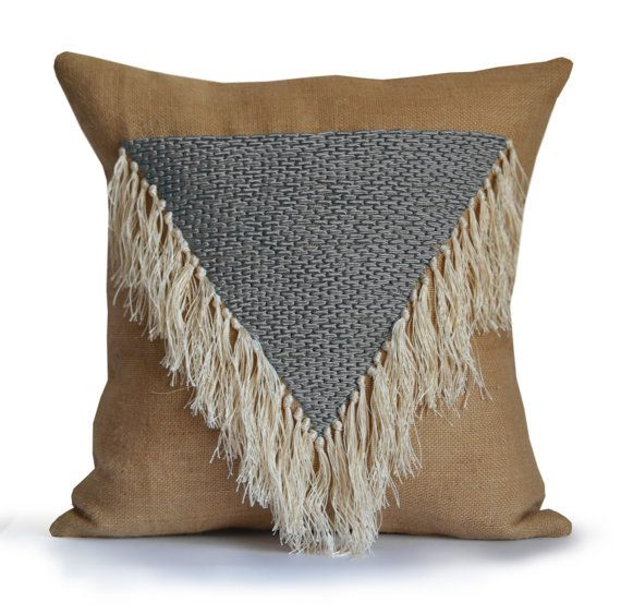 Shaggy Throw Pillow Cover Boho Pillow Geometric by AmoreBeaute