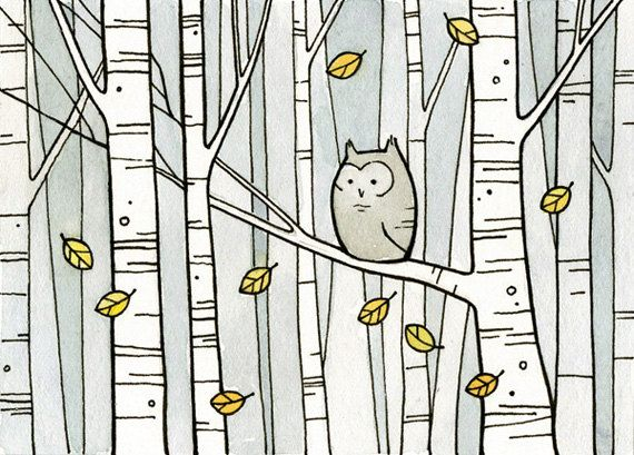 {owl in the birches} by 100owls