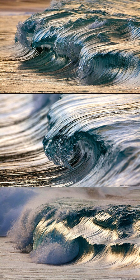 Photographer Pierre Carreau was born in 1972 near Paris surrounded by a family of artist, all of which would influence his creative upbringing as well as his artistic output. Carreau's work has now moved into fine art as he shoots waves with a variety of high speed cameras using various macro and wide angle lenses, capturing water shapes that appear more sculptural than liquid.