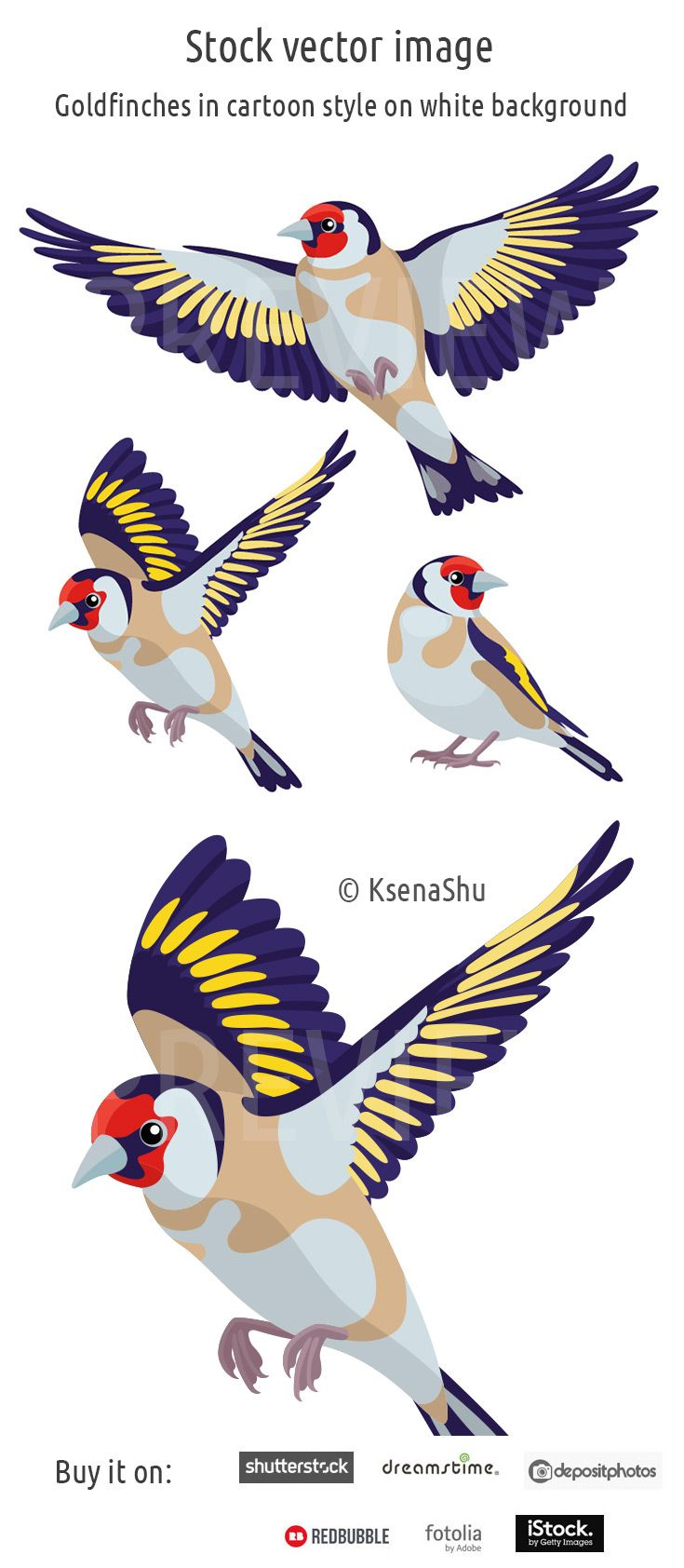 Stock image. Goldfinches in cartoon style on white background #vector #bird #flyingbird #vectorillustration #stock