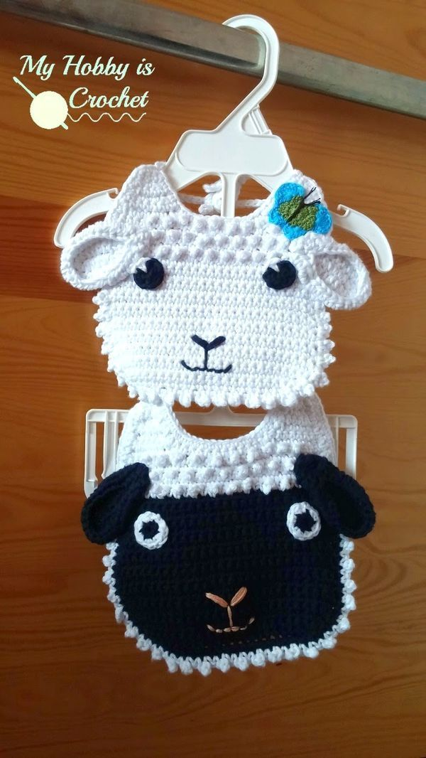 Lamb Baby Bib | FREE Crochet Pattern | My Hobby is Crochet