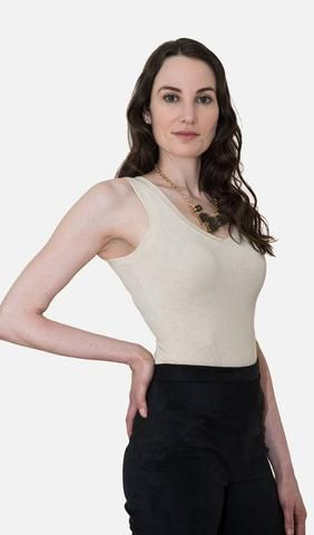 This simple but versatile top that can be worn as a V-neck or scoop neckline...