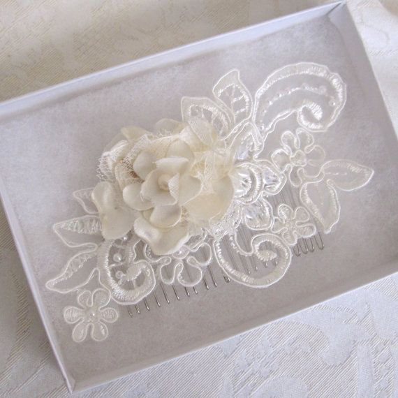 Bridal Lace with Fabric Flower Hair Comb by Bridalize on Etsy, $42.00