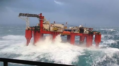 An oil worker in the North Sea has captured incredible footage of a floating oil rig swaying back and forth during a severe storm that swept across Scotland earlier this week.