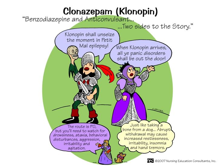Clonazepam (Klonopin) Klonopin (clonazepam) is in a group of drugs called benzodiazepines. Clonazepam affects chemicals in the brain that may become unbalanced and cause anxiety. Klonopin is used to treat seizure disorders or panic disorder.