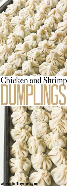 Easy to make chicken and shrimp dumpings can be steamed, boiled or fried and served with a side of soy sauce for dipping! | aheadofthyme.com via @aheadofthyme