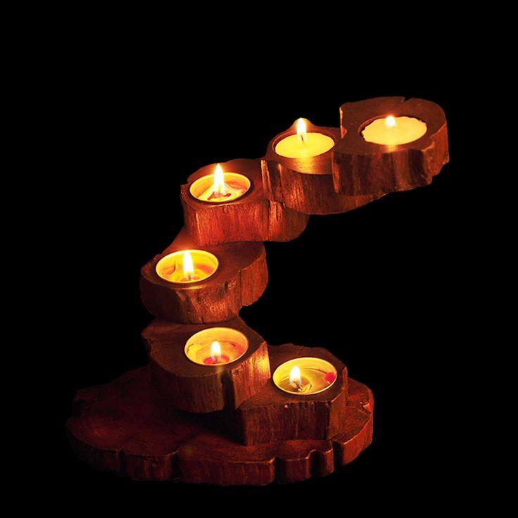 Природа тикового дерева роторная подсвечники с бесплатной приятно Велаш свечи ручной работы поделки из качественной древесины свечи Свадебные украшения