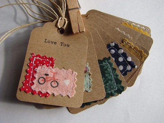 sewn fabric and hand typed kraft paper gift tags, love notes set of 8 handmade designs and vintage treasures by studio346