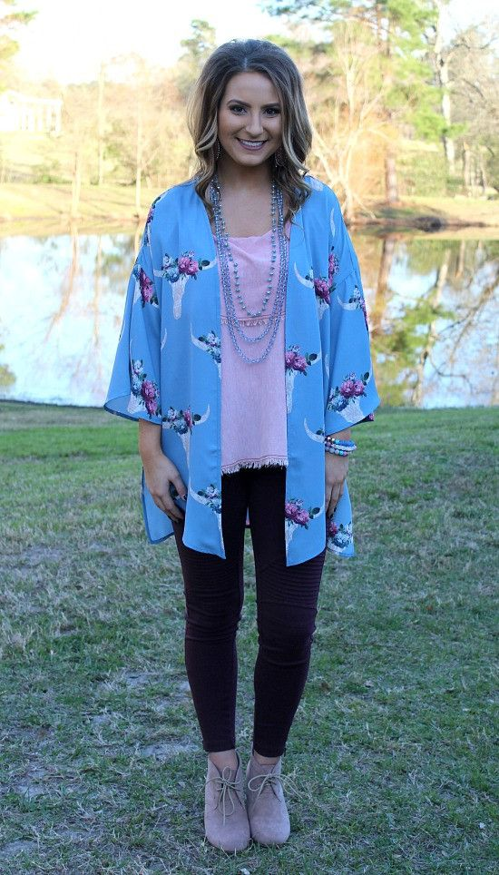 Far Out West Bull Skull Kimono in Light Blue – Giddy Up Glamour Boutique
