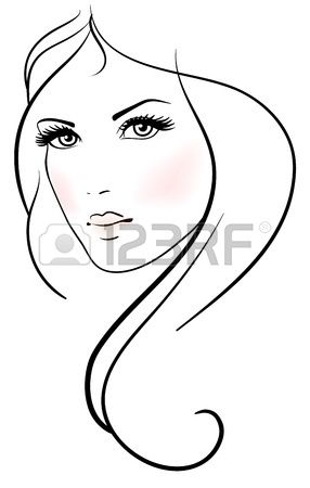 Beautiful young woman with long blond hair Stock Vector