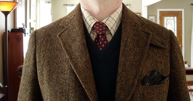 Vintage 3/2 Harris Tweed for Frederick & Nelson, Seattle; LL Bean cotton flannel tattersall shirt; vintage Jos. A. Bank wool challis tie; Brooks Brothers 3-ply Scottish cashmere sweater vest; unbranded pocket square.