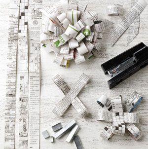 newspaper gift bows (or use wrapping paper)
