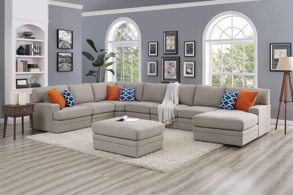 Episkopi 167 Left Hand Facing Modular Large Sectional Sofa With Ottoman In 2020 Large Sectional Sofa Corner Sectional Sofa Comfortable Sectional Sofa