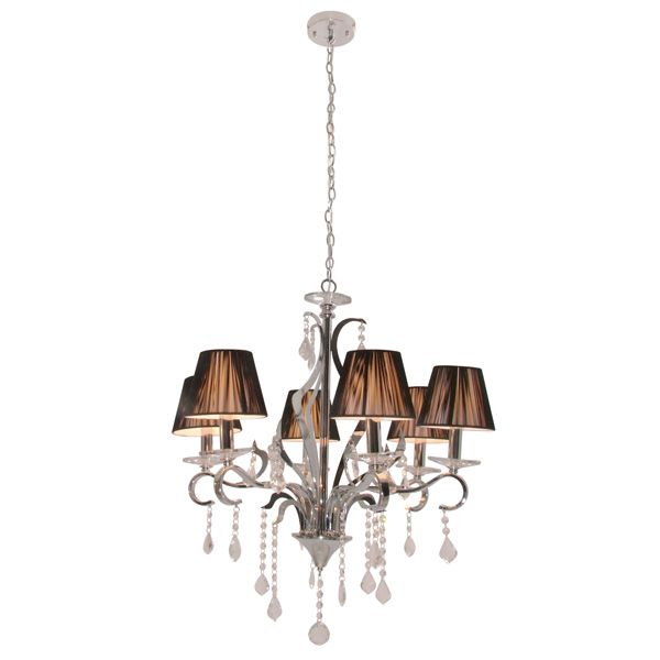 Eurolux CH207 - 6 Light Up Facing Crystal Chandelier with Adjustable Chain Suspension