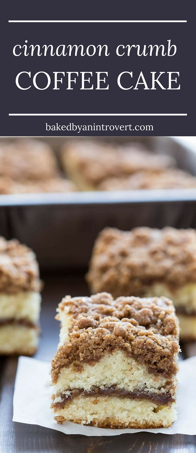 There is absolutely nothing better than waking up in the morning and enjoying a slice of warm coffee cake. This Cinnamon Crumb Coffee Cake is so perfect with a cup of coffee, it's the best way to start your day! With a thick cinnamon streusel topping over fluffy, buttery cake and a ribbon of melty cinnamon through the center, this crumb cake is going to be a hit at your family breakfast. #coffeecake #breakfast #cinnamon #streusel