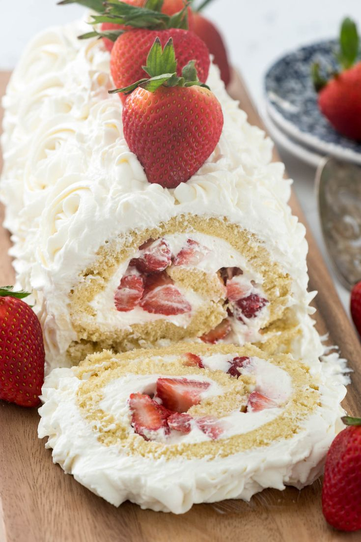 The BEST Strawberry Shortcake Cake Roll Recipe - the cream cheese whipped cream is SO GOOD!