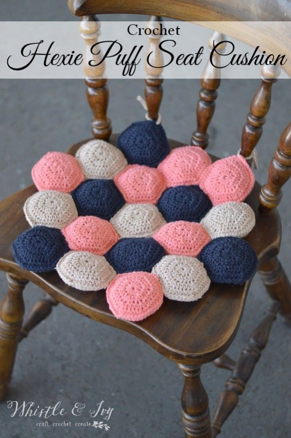 Free Crochet Pattern - Hexie Puff Seat Cushion | Make the cute and comfy seat cushion for your lovely kitchen chairs or outside benches! Simply made.