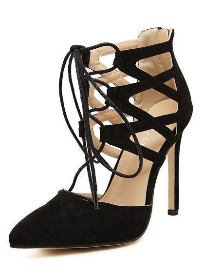 Black+High+Heel+Bandage+Point+Toe+Pumps+33.33