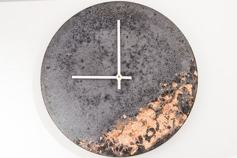 Concrete Fractured Clock - Copper - 11 inch