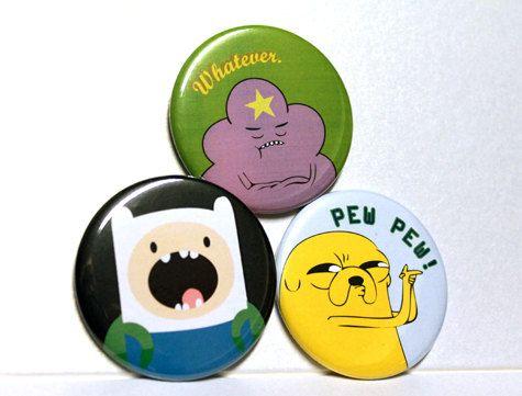 Adventure Time - Finn - Jake - Lumpy Space 2.25 Inch. $3.50, via Etsy.