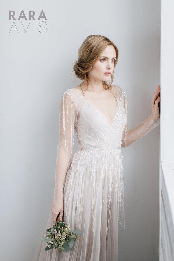 A-line floaty wedding dress TOVEL with long train by RARA AVIS • Boho wedding dress • Exclusive wedding dress