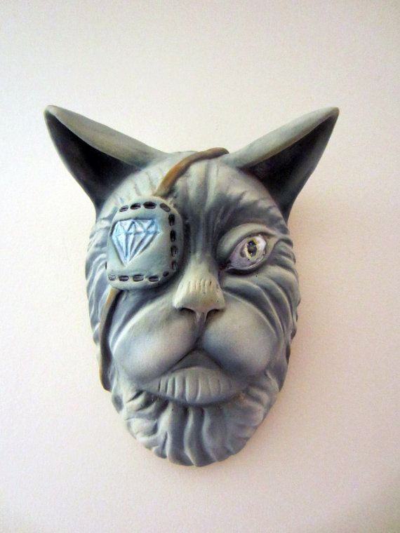 The Governor Cat Head Wall Sculpture. by KMcGiveronCeramics