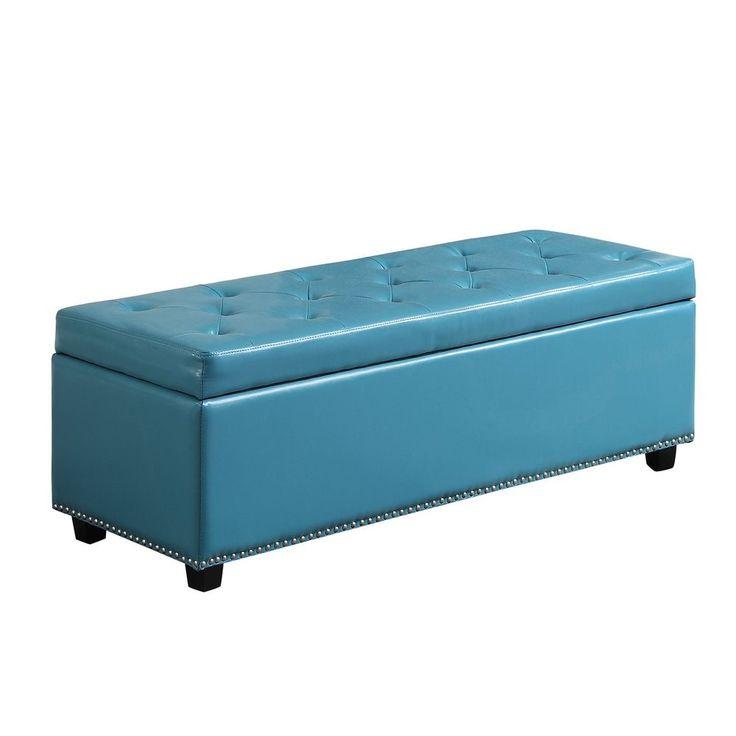 Simpli Home Hamilton Rectangular Storage Ottoman Bench Large Mediterranean Blue in Home & Garden, Furniture, Ottomans, Footstools & Poufs   eBay