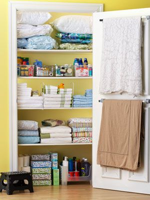 Linen closet organization. Love the idea of putting dividers up for towels