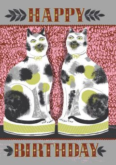 Roger la Borde | Staffordshire Cats Greeting Card by Alice Patullo