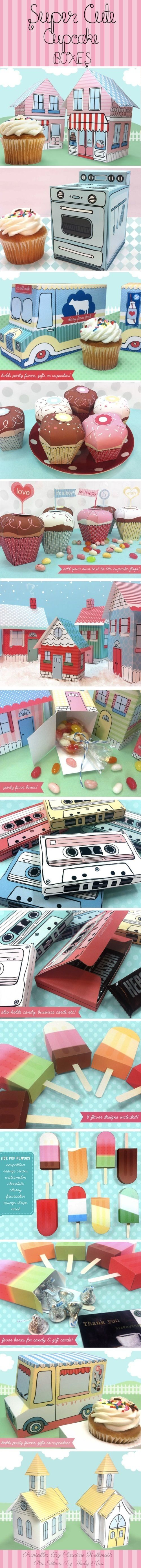 PRINTABLES!!!!  Retro Whimsical Art Cupcake Boxes - By Claudine Hellmut PD