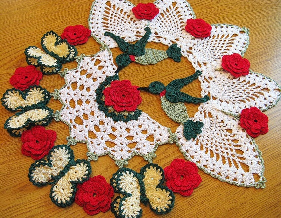Hummingbird Butterfly and Rose Crochet Doily 15 Inch by DoilyDea, $107.49