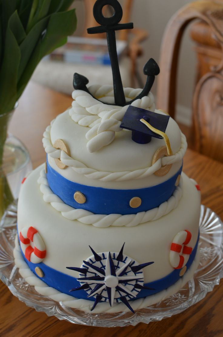 Merchant Mariner Graduation - This cake was extra special as it was made with tons of love for my son.  Second attempt at covering a cake with fondant. White cake, caramel sauce, Dulche Leche custard filling and whipped cream butter cream covered with MMF. Anchor and compass gumpaste the rest is fondant.