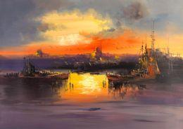 Güneşin batışı ve istanbul görünümlü tablo - ist 7759