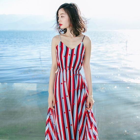여름 새로운 여성의 민소매 스트라이프 쉬폰 드레스 하니스 드레스 보헤미안 해변 리조트 해변 드레스