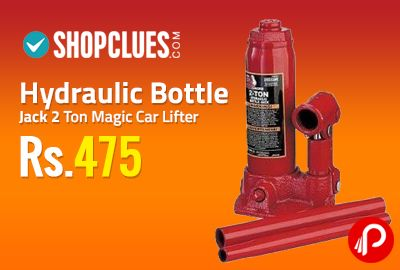 Shopclues is offering 2 Ton Hydraulic Bottle Jack Magic Car Lifter at Rs.475. 2 ton bottle, Hydraulic Jack -Change Flat tyre easily, Simply use this Hydraulic Jack to easily Lift your car for changing a flat tyre, No special strength required as it is all Hydraulic, Great for ladies who drive Perfect for anyone who wants a ease while changing a flat tyre,  http://www.paisebachaoindia.com/hydraulic-bottle-jack-2-ton-magic-car-lifter-at-rs-475-shopclues/