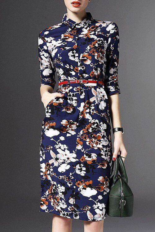 Half Sleeve Floral Print Sheath Dress