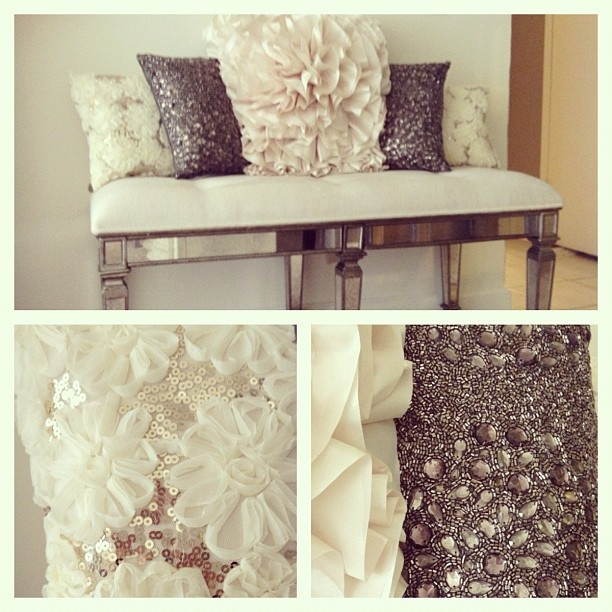 sequins add a touch of luxe to this tufted bench. @Summer Olsen Olsen Olsen Scott this would match ur TV room.