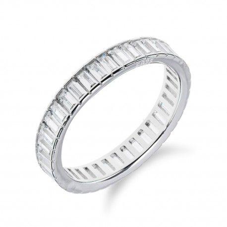 Stříbrný prsten s obvodem z obdélníkových zirkonů