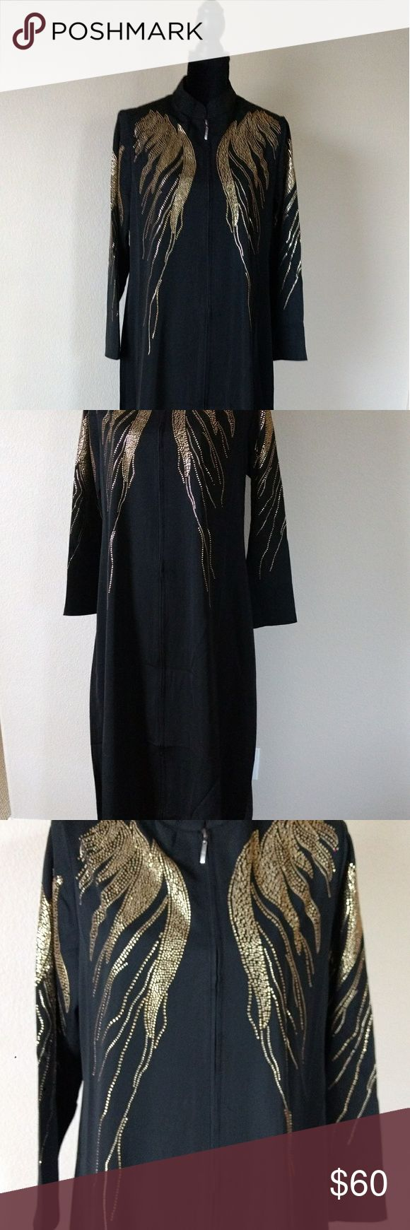 Abaya Brand New Abaya  Color: Black with gold beading, with zipper in front. Size: XLarge,  Material: Polyester Made in Turkey unbranded Other